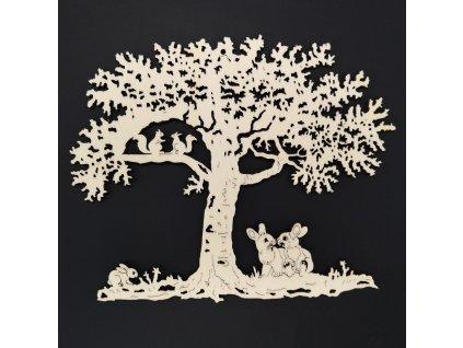 Dřevěný strom se zajíčky, přírodní závěsná dekorace, 18 cm