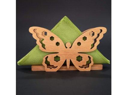Dřevěný stojánek na ubrousky ve tvaru motýla, masivní dřevo, 12,5x7,5x3,5 cm