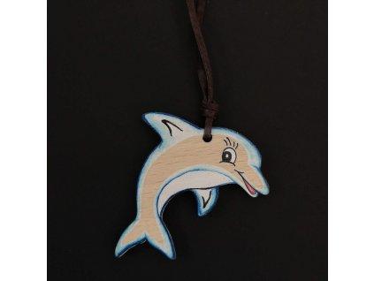 Dřevěný přívěsek na krk delfín, 4,5 cm