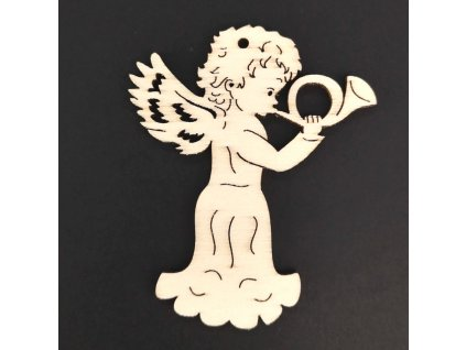 Dřevěná ozdoba anděl s lesním rohem 9 cm