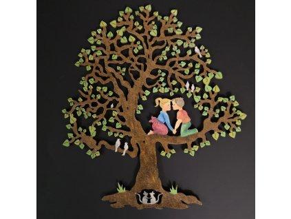 Dřevěný strom s dětmi, barevná závěsná dekorace, výška 22 cm