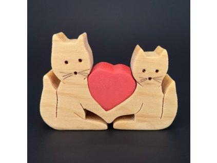 Dřevěné kočky se srdcem, masivní dřevo, 7x5x1,5 cm