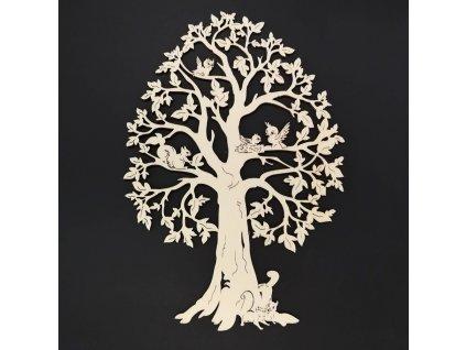 Dřevěný strom se zvířaty, přírodní závěsná dekorace, výška 28 cm