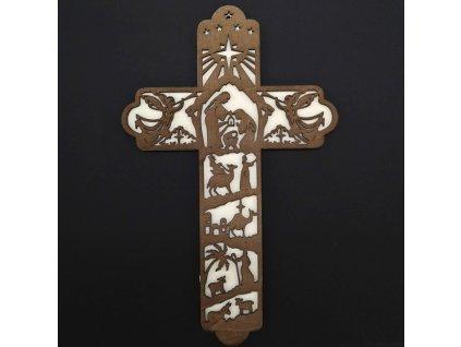 dřevěný kříž s motivem betlema