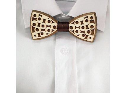 Dřevěný motýlek k obleku - kolečka 11 cm