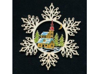 Dřevěná ozdoba barevná vločka s kostelem 9 cm