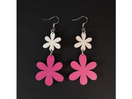 Dřevěné náušnice květiny bílá a růžová, 5 cm