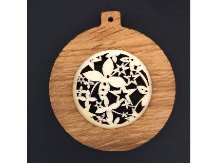 Dřevěná ozdoba z masivu s vkladem - koule s ornamentem 8 cm