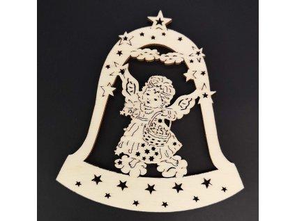 Dřevěná ozdoba zvonek s andělem 9 cm