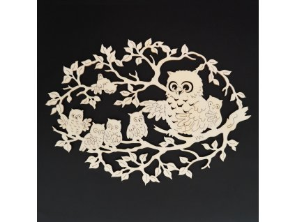 Dřevěná dekorace sova s mláďaty 18 cm