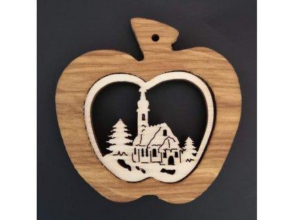 Dřevěná ozdoba z masivu - jablko s kostelem 7 cm