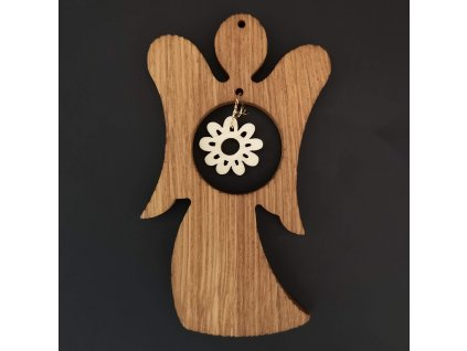 Dřevěná ozdoba z masivu s vkladem - anděl s kvítkem 11 cm