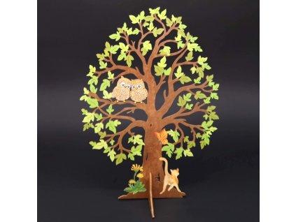 Dřevěný 3D strom se sovami, barevný, výška 28 cm