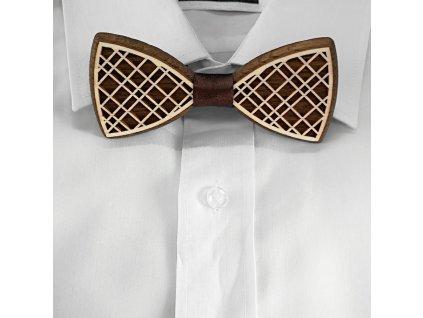 Dřevěný motýlek k obleku - káro 11 cm