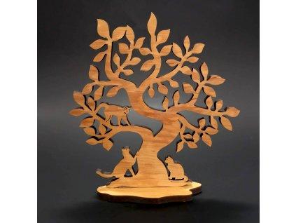 Dřevěný 3D strom s kočkami, masivní dřevo, výška 20 cm, tloušťka 8mm