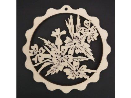 Dřevěná ozdoba vlnka s květy 9 cm
