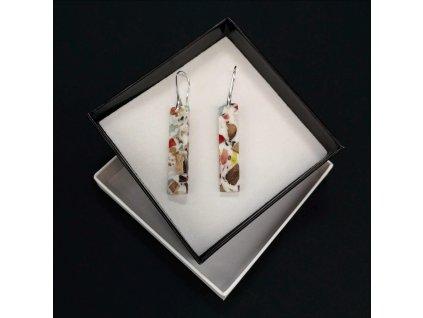 Dřevěné náušnice z pryskyřice mozaika