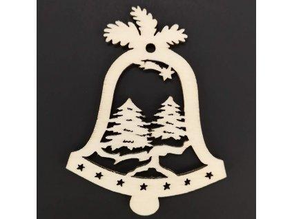 Dřevěná ozdoba zvonek se stromy 9 cm