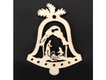 Dřevěná ozdoba zvonek s betlémem 9 cm