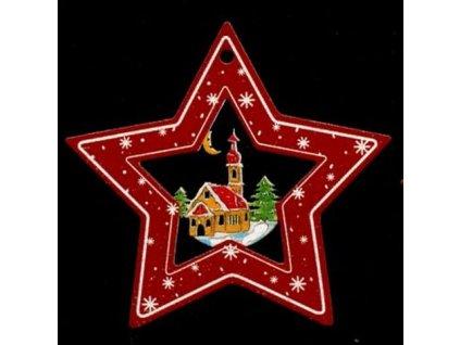 Dřevěná ozdoba barevná hvězda s kostelem 6 cm