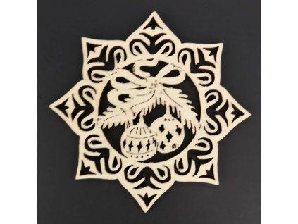 Dřevěná ozdoba hvězda s koulemi 9 cm