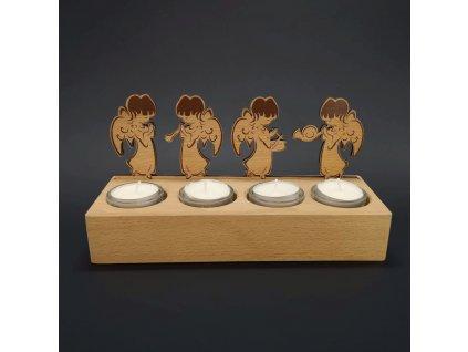 Dřevěný svícen andělé se 4 svíčkami
