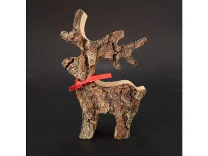 Dřevěný jelen s kůrou, masivní dřevo, výška 8 cm