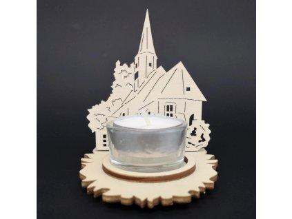 Dřevěný svícen kostel