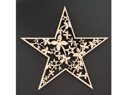Dřevěná ozdoba hvězda 9 cm