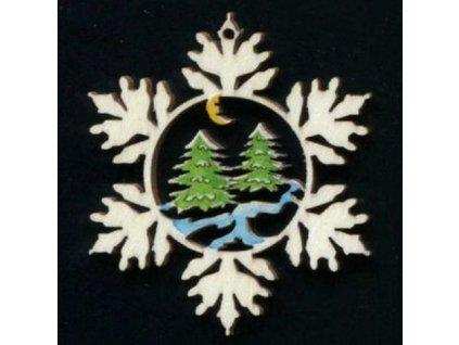Dřevěná ozdoba barevná vločka se stromy 6 cm