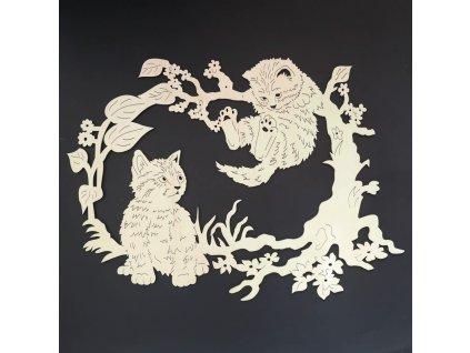 Dřevěná dekorace koťata