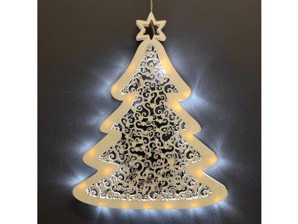 Dřevěná svítící dekorace strom s LED osvětlením, 31 cm
