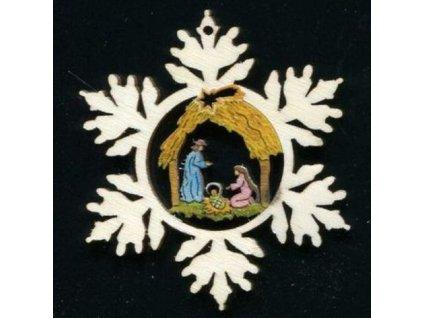 Dřevěná ozdoba barevná vločka s betlémem 6 cm
