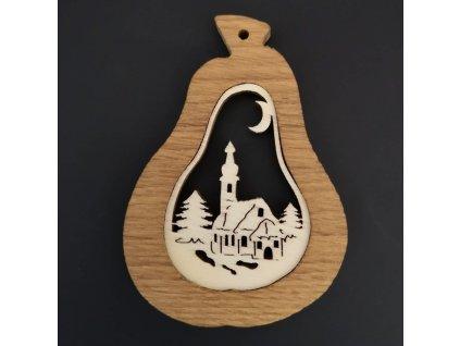 Dřevěná ozdoba z masivu s vkladem - hruška s kostelem 9 cm