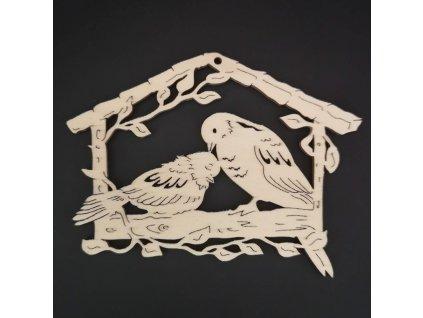 Dřevěná ozdoba budka s ptáčky 7 cm