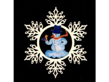 Dřevěná ozdoba vločka barevná se sněhulákem 9 cm