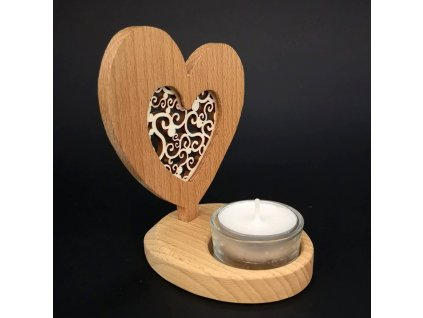 Dřevěný svícen srdce s vkladem - ornament, masivní dřevo, výška 10 cm