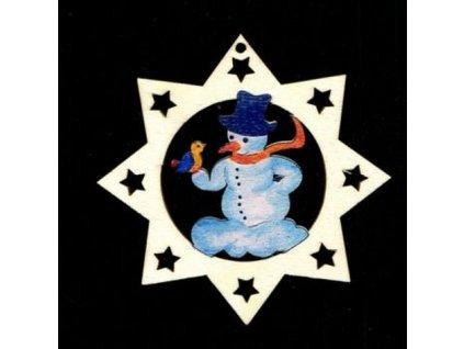 Dřevěná ozdoba barevná hvězda se sněhulákem 6 cm