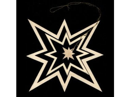 Dřevěná ozdoba 3D hvězda 27 cm