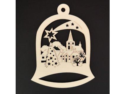 Dřevěná ozdoba zvonek s městečkem 11 cm