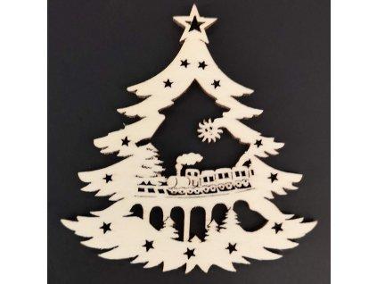 Dřevěná ozdoba stromek s vláčkem 9 cm