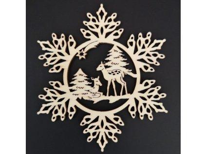 Dřevěná ozdoba vločka se srnkami 20 cm