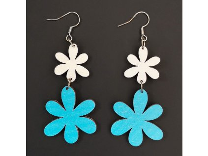Dřevěné náušnice květiny bílá a modrá, 5 cm