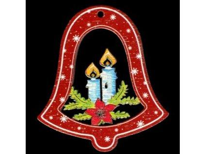 Dřevěná ozdoba barevná zvonek se svíčkami 6 cm