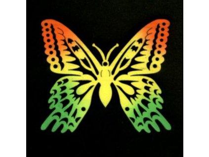 Dřevěná dekorace motýl barevný 8 cm