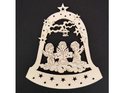 Dřevěná ozdoba zvon s anděly 9 cm