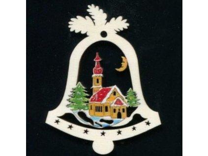 Dřevěná ozdoba barevná zvonek s kostelem 6 cm