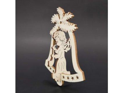 Dřevěná ozdoba 3D zvonek - anděl se saxofonem 9 cm