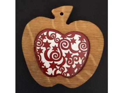 Dřevěná ozdoba z masivu s barevným vkladem - jablko s ornamentem 8 cm