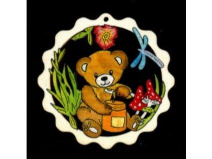Dřevěná ozdoba barevná vlnka s medvídkem 9 cm